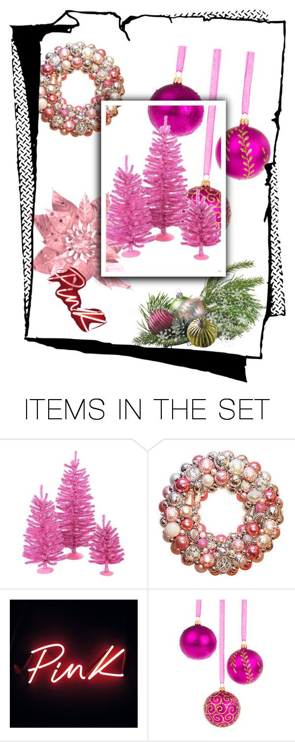 """pink christmas contest"" by empathetic ❤ liked on Polyvore featuring art"