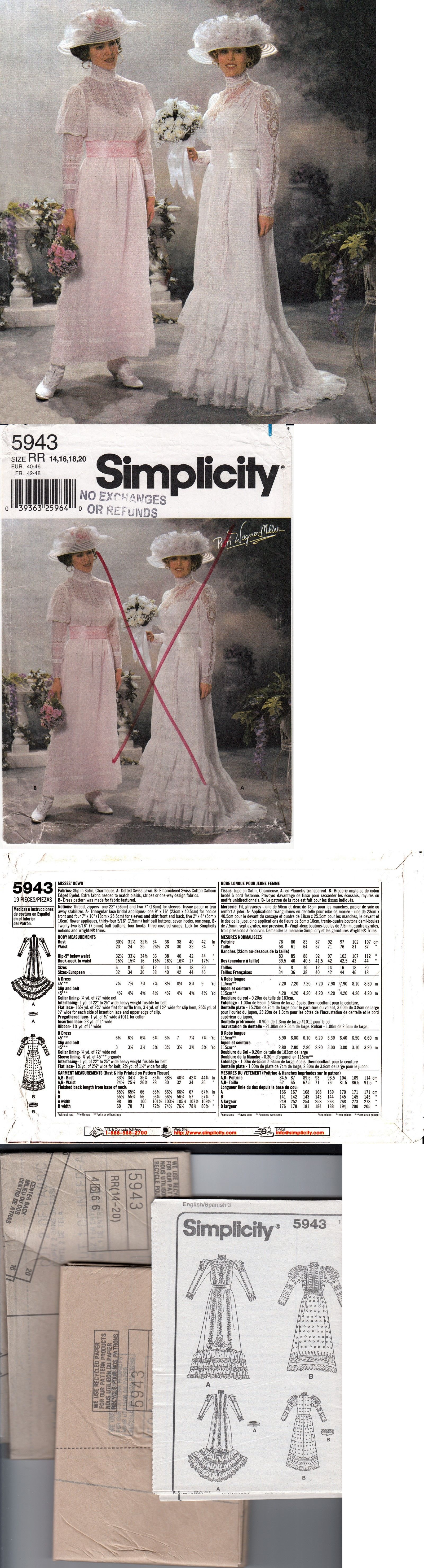 Sewing Patterns 28174: Misses Victorian Edwardian Wedding Bridal ...