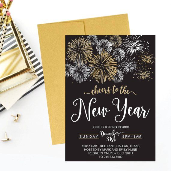 New Year S Eve Party Invitation Template Elegant Black Etsy New Years Eve Invitations Party Invite Template Invitation Template