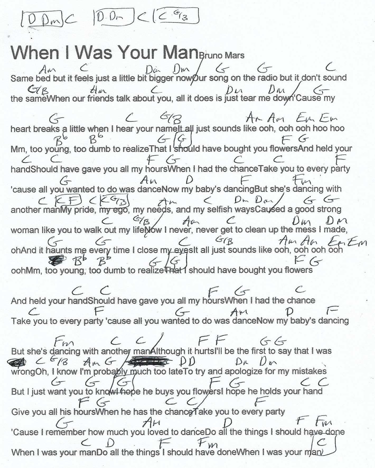 When I Was Your Man Bruno Mars Guitar Chord Chart Real Key
