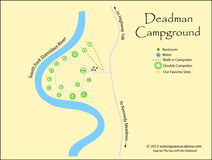 Map of the roads, campsites, and