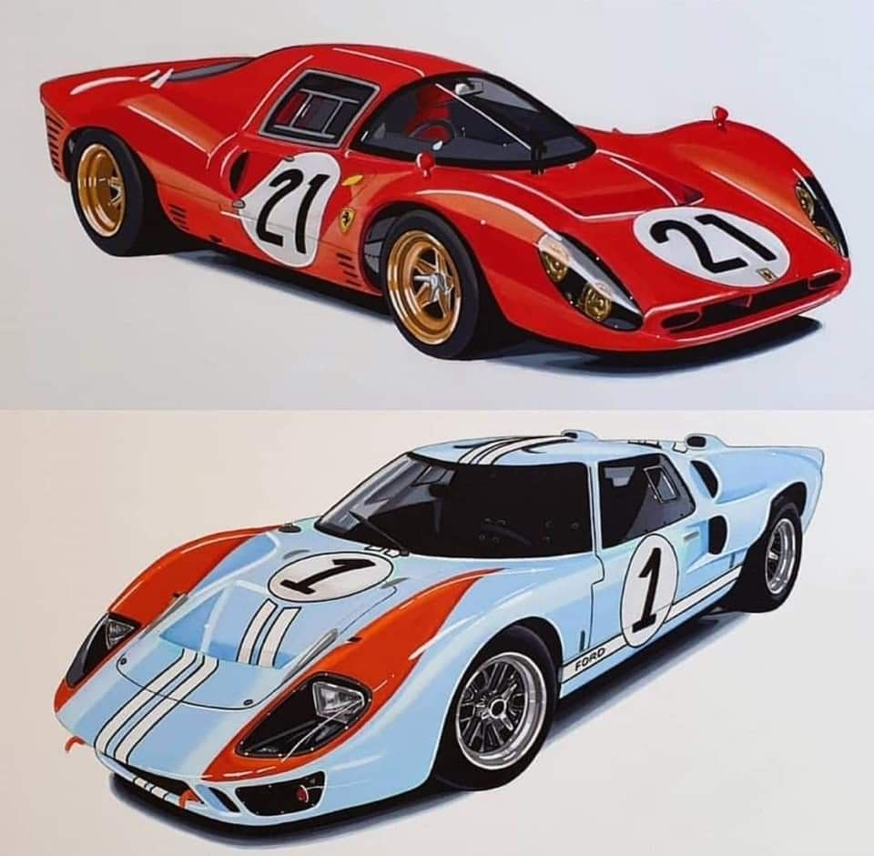 Ford And Ferrari 1966 Ford Gt40 Ford Gt40 1966 Vintage Racing Poster