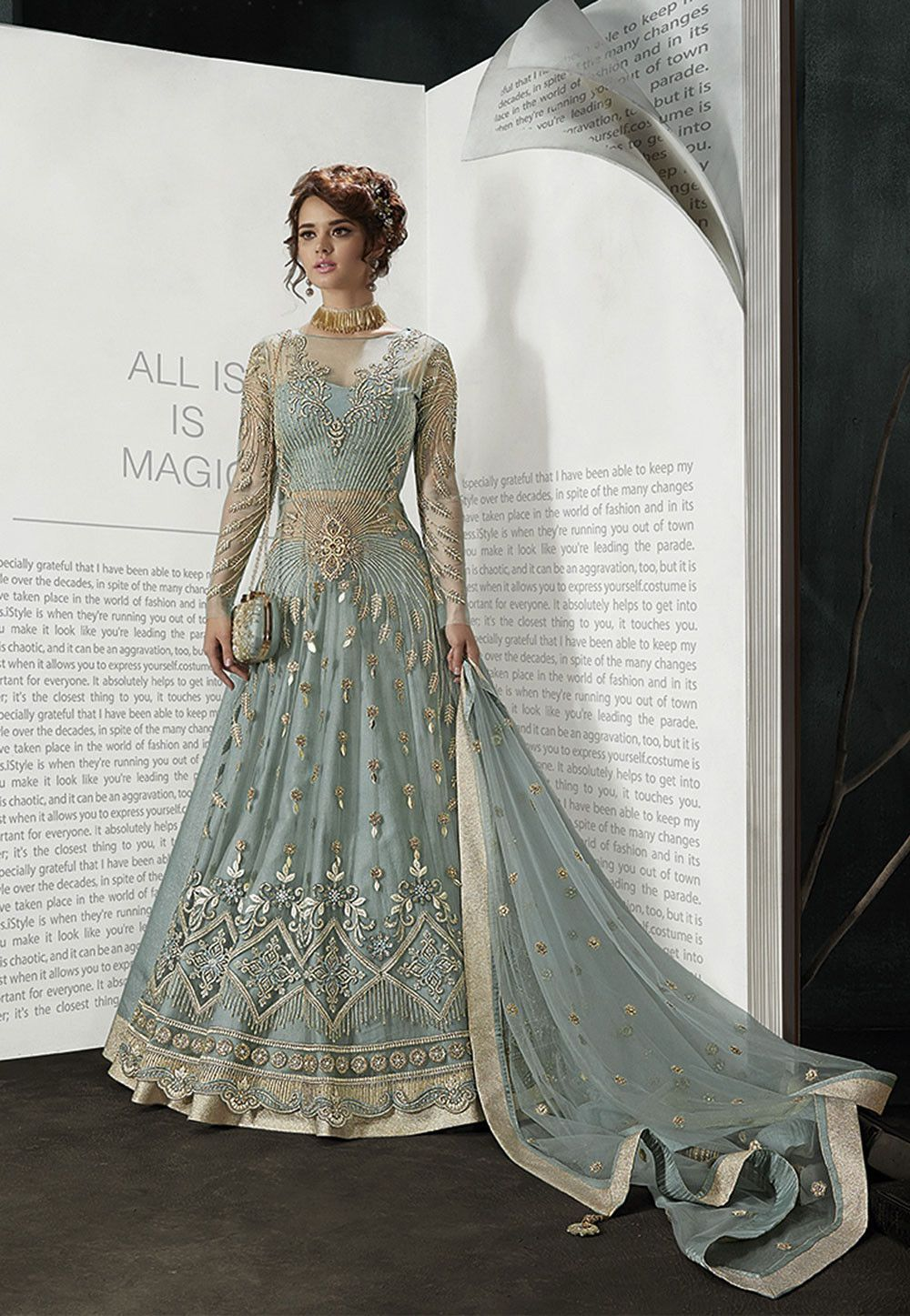 27aea1209e Buy Embroidered Net Lehenga in Dusty Blue online, Item code: LCC220, Color:  Blue, Occasion: Wedding, Party, Work: Contemporary, Resham, Stone Work,  Zari, ...