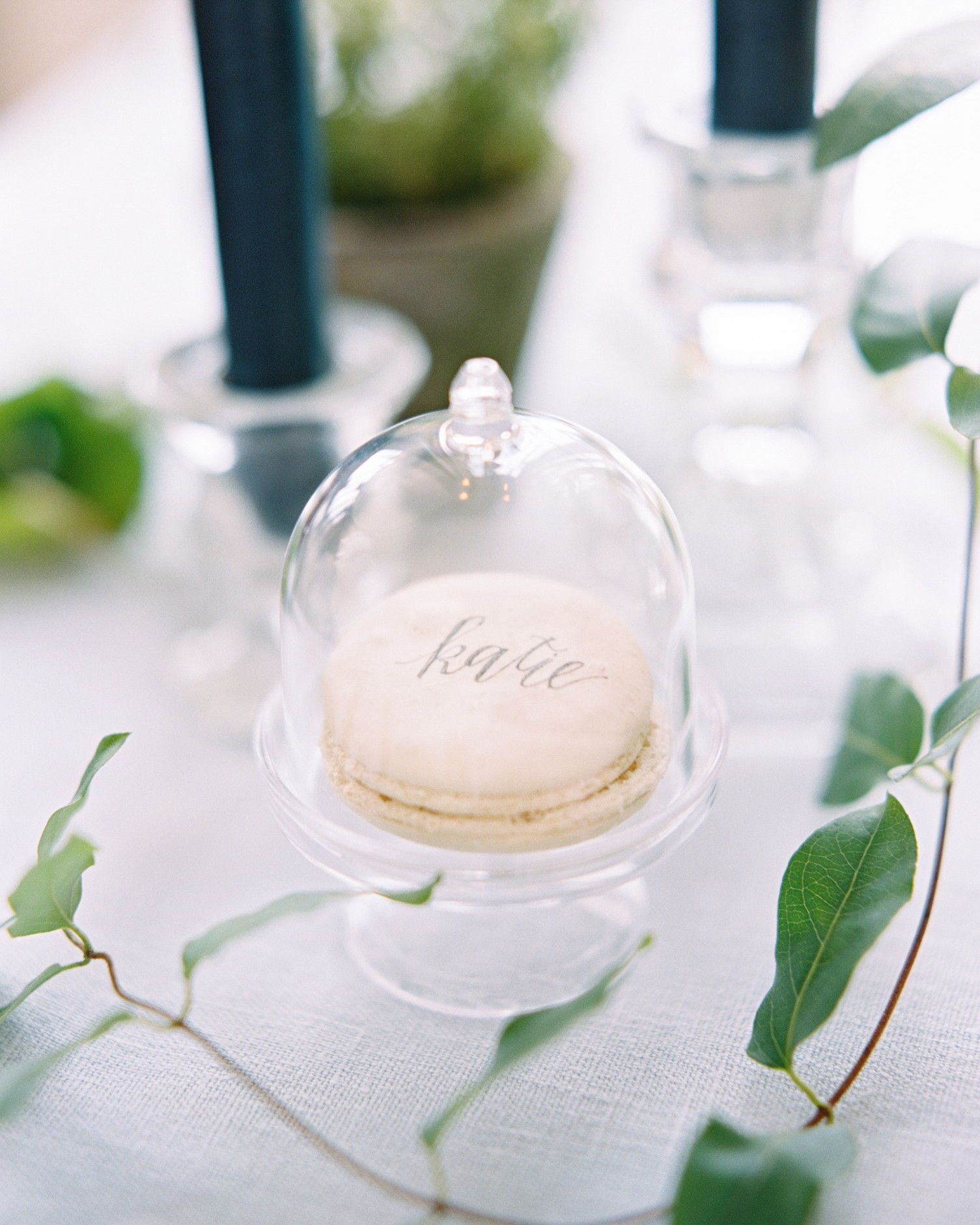 28 Paper Place Card Alternatives That Your Guests Won't Expect On the fence about what to choose for name cards? We suggest drawing inspiration from your wedding's theme, locale, and even the season. | Martha Stewart Weddings - 28 Paper Place Card Alternatives That Your Guests Won't Expect