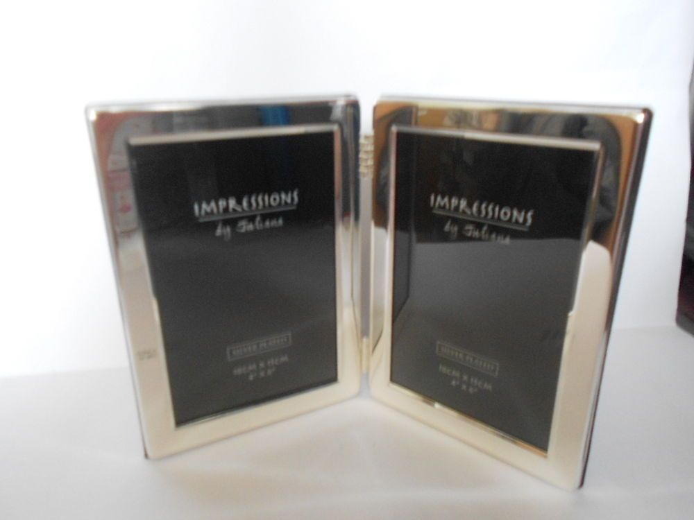 Juliana Impressios 4x6 Double Hinged Silver Plated Photo Picture