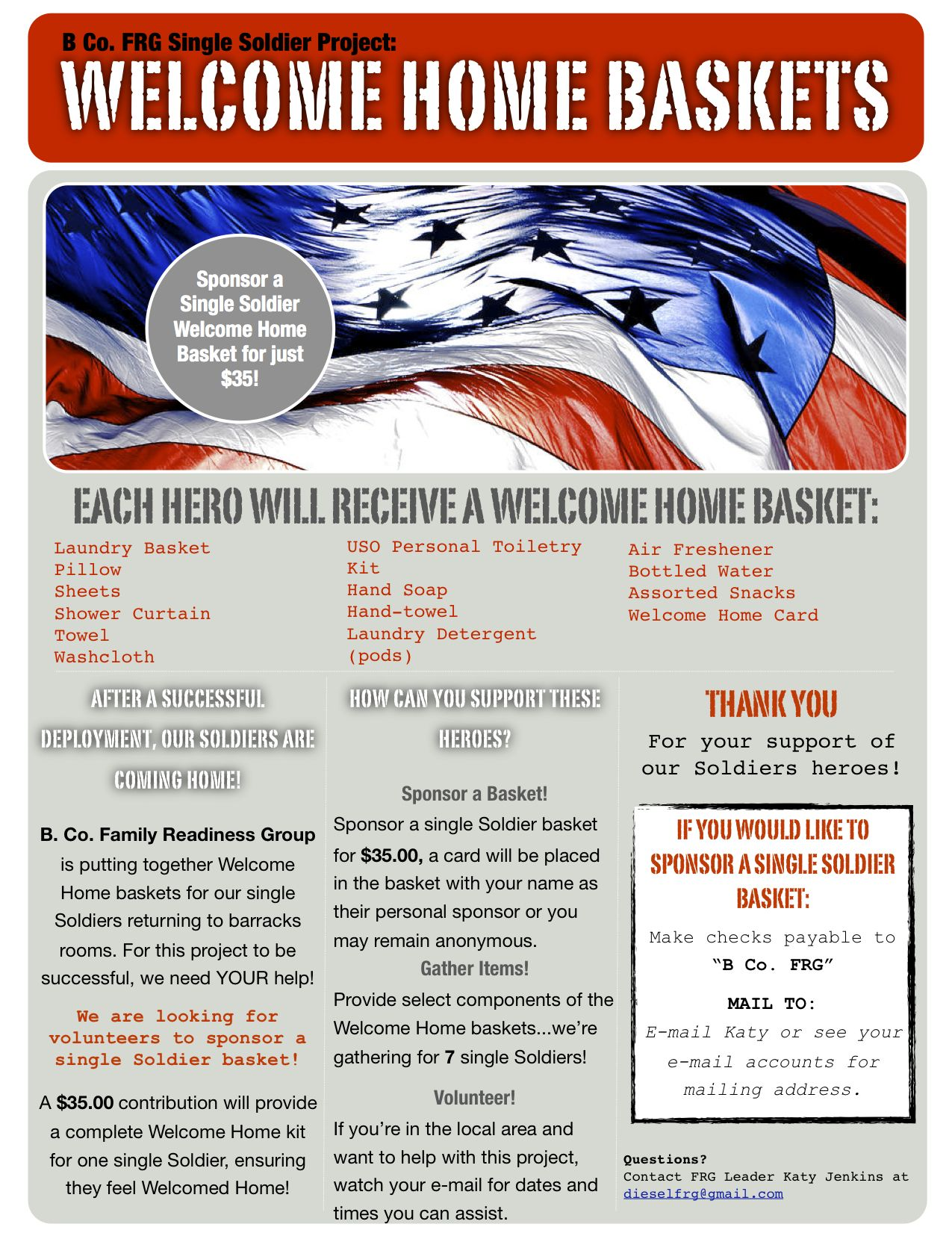 Single Soldier Welcome Home Baskets for Barracks | B Co. FRG ...