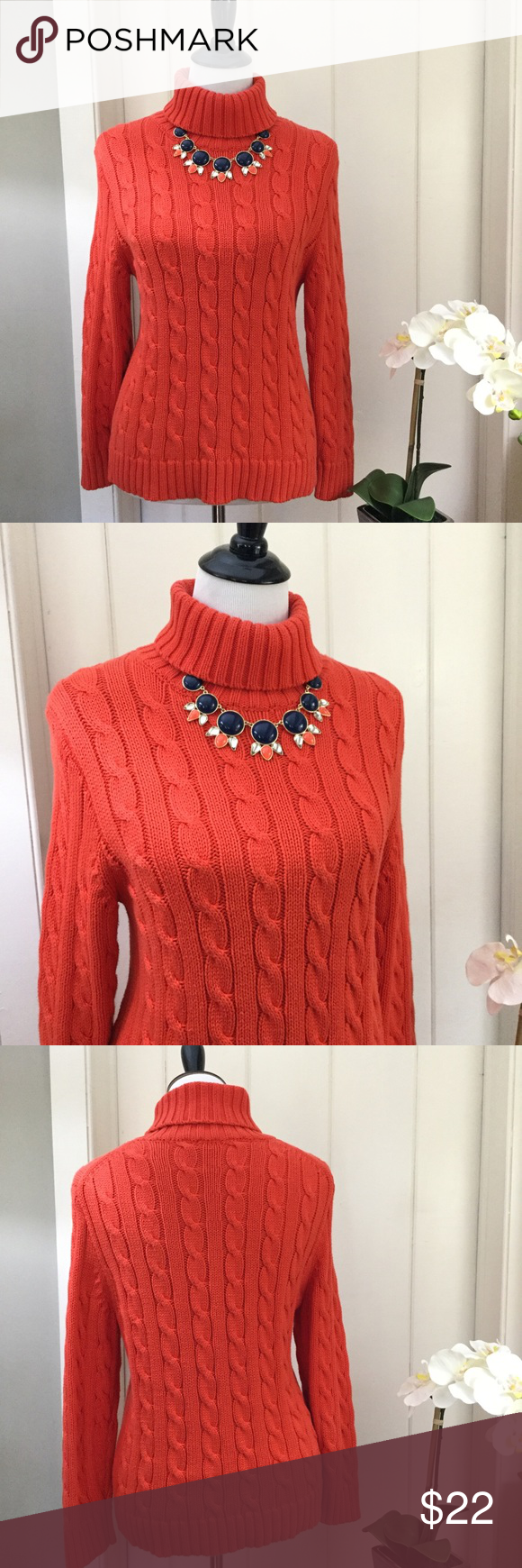 J CREW Orange Cotton Cable Knit Turtleneck Sweater | Cable ...