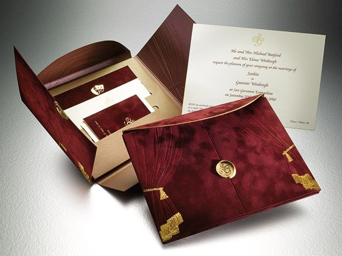 Luxurious Burgundy And Gold Wedding Invitations