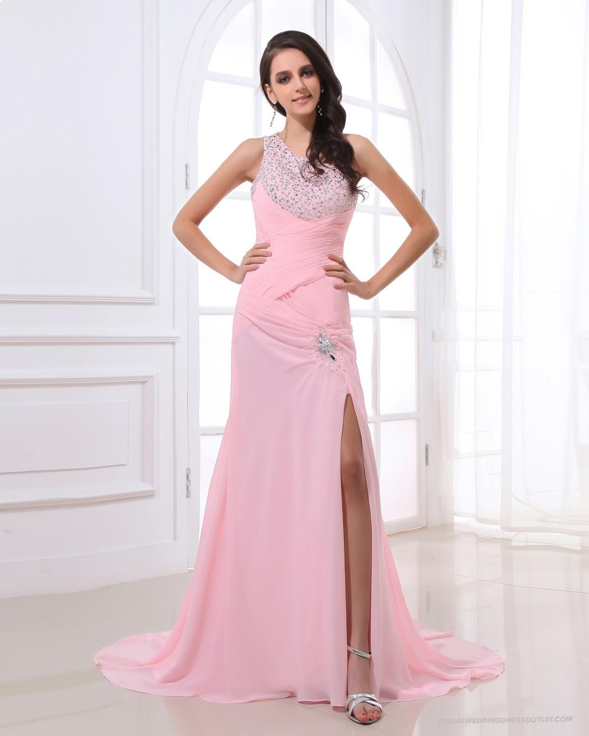 Beaded Pink Evening Dress with Front Split - Vuhera.com | High ...