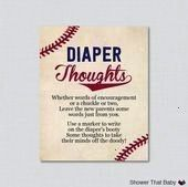 Baby Shower Diaper Thoughts Game  Printable Download  Baseball Write on Diaper Message Game Words for Wee Hours Activity  0027 Baseball Baby Shower Diaper Thoughts Game b...