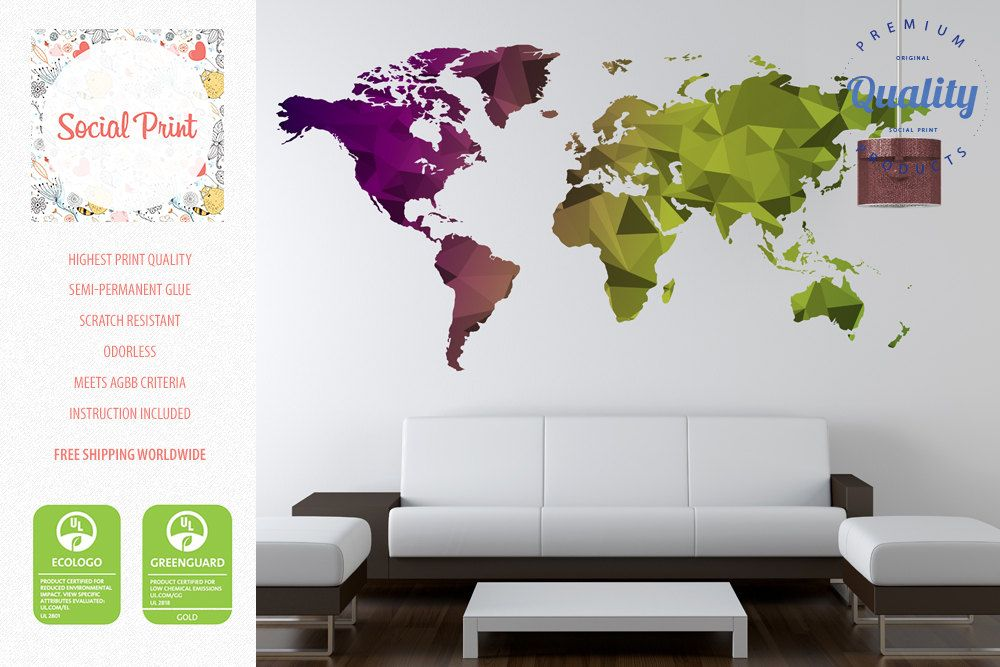 World map wall decal free shipping easy install home decoration world map wall decal easy install home decoration wall art triangular world map decal semi gumiabroncs Image collections