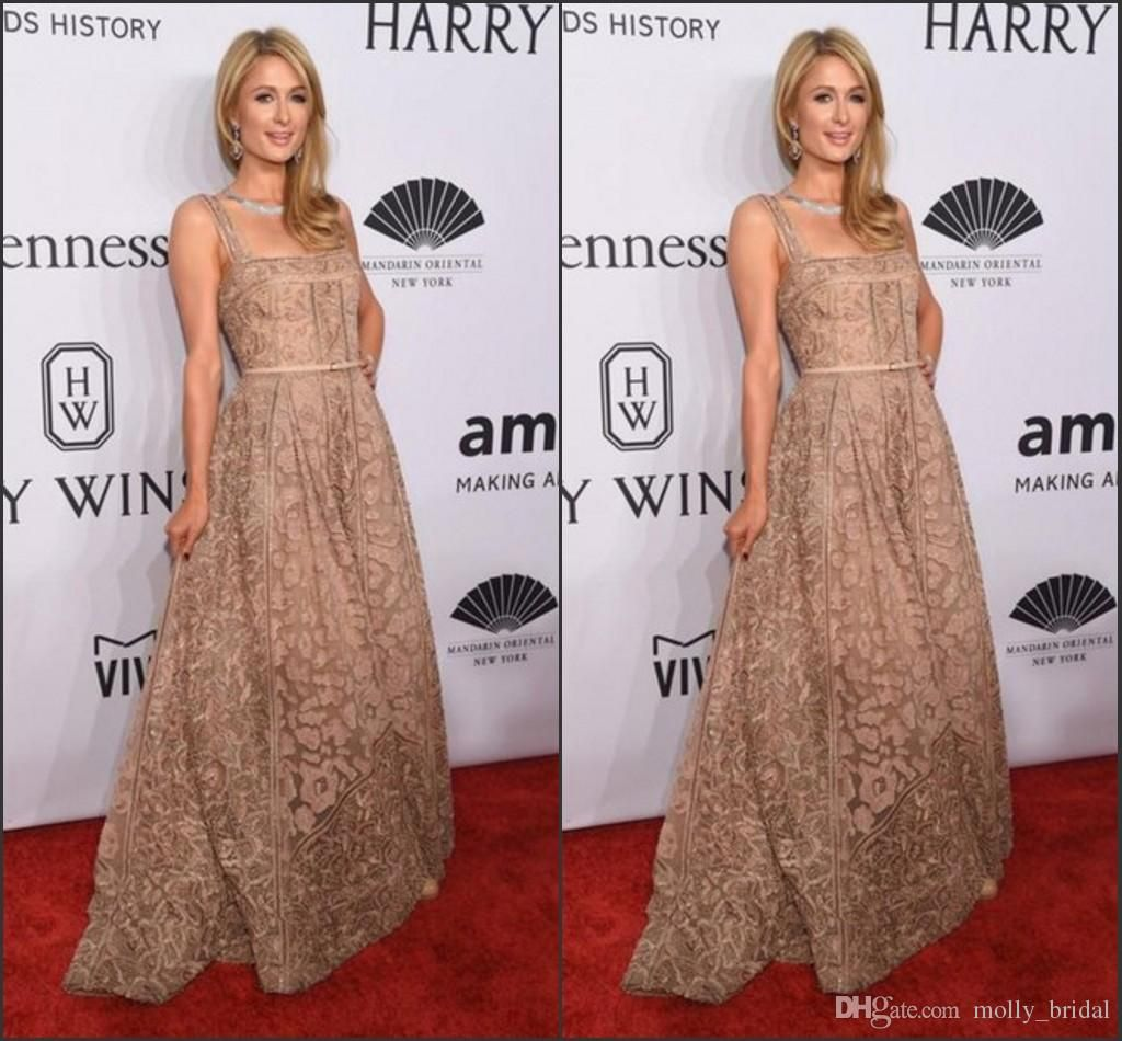 Champagne lace celebrity dresses red carpet dress from