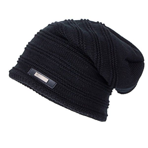 Horizontal Stripe Label Knitted Ski Hat  1b7017387f8