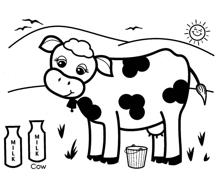 Cows Produce Healthy Milk Coloring Pages : Kids Play Color