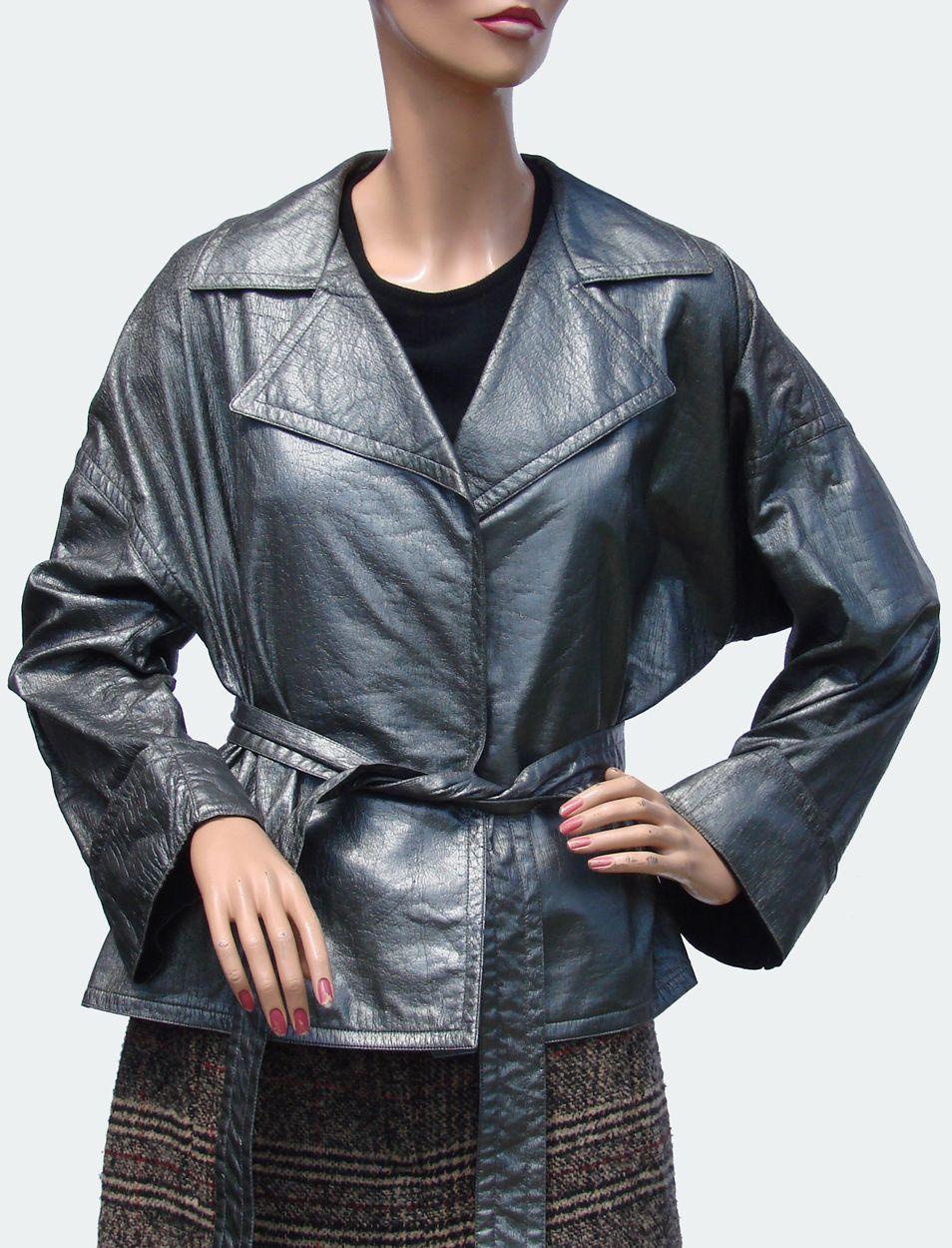 Vintage 1970s Bonnie Cashin Vinyl Rain Jacket // Ladies Size Large L