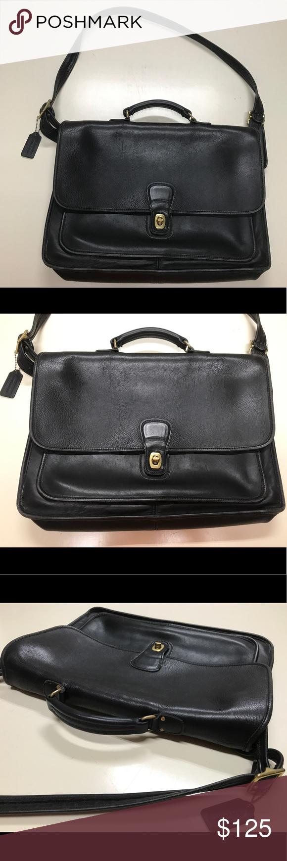 Vintage Coach Black Leather Laptop Bag 5180