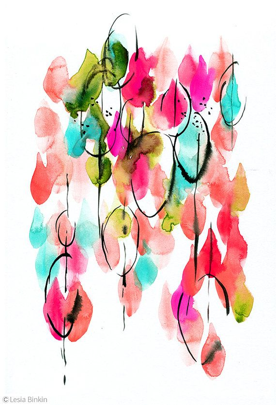Bright Color Poster Abstract Art Watercolor Print Colorful