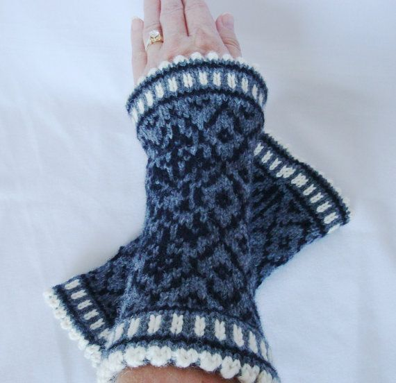 Hand Knit Fair Isle Fingerless Gloves by DesignsByChristianna ...