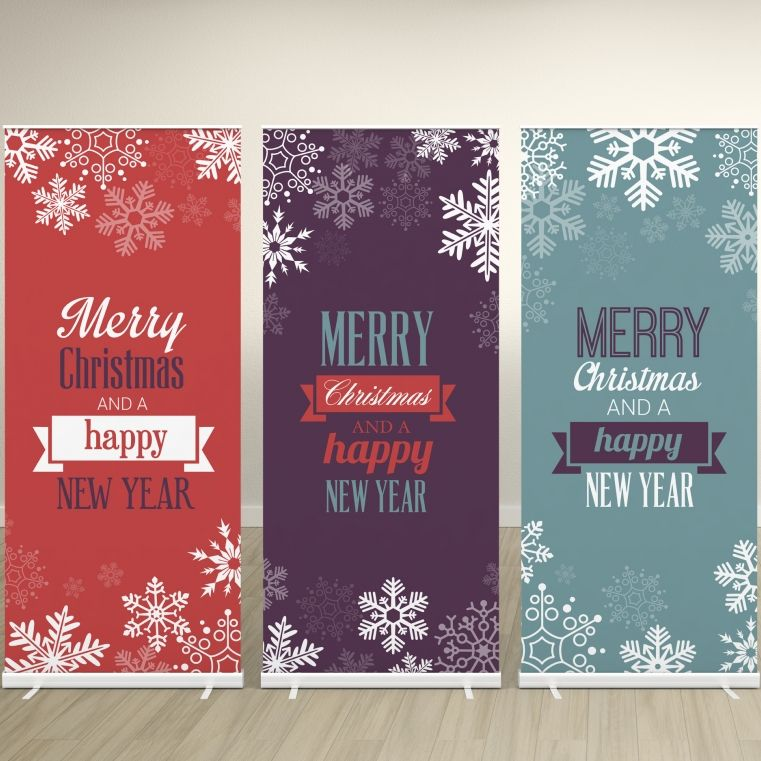 Buy Pre-designed Christmas Pull-up Roller Banner (800mm x 2000mm) online |  Christmas labels, Pop up banner, Christmas banners
