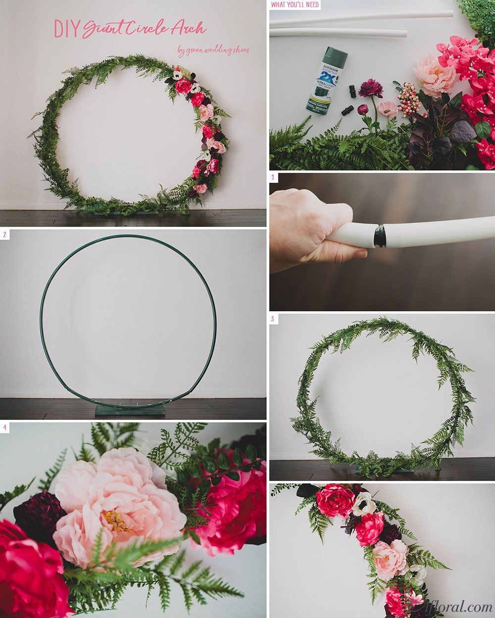 DIY Giant Circle Arch | Floral wreath, Wedding and Greenery garland