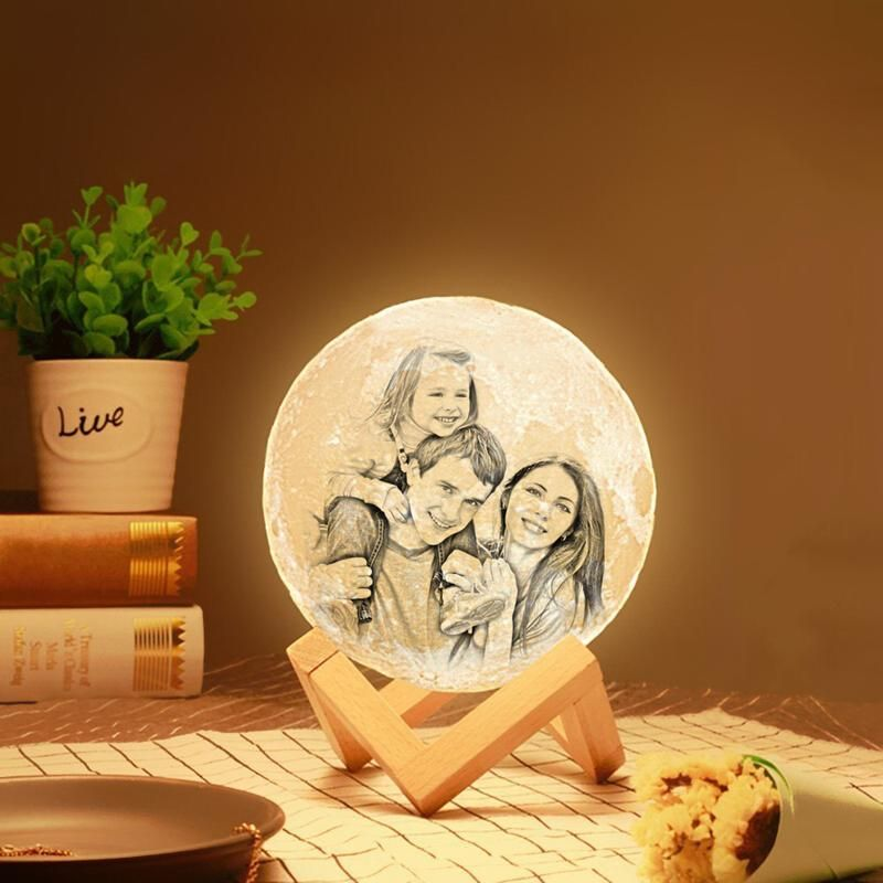 Photo Moon Lamp Custom 3d Photo Engraved Moon Light 2 Colors In 2020 3d Photo Photo Engraving Lamp
