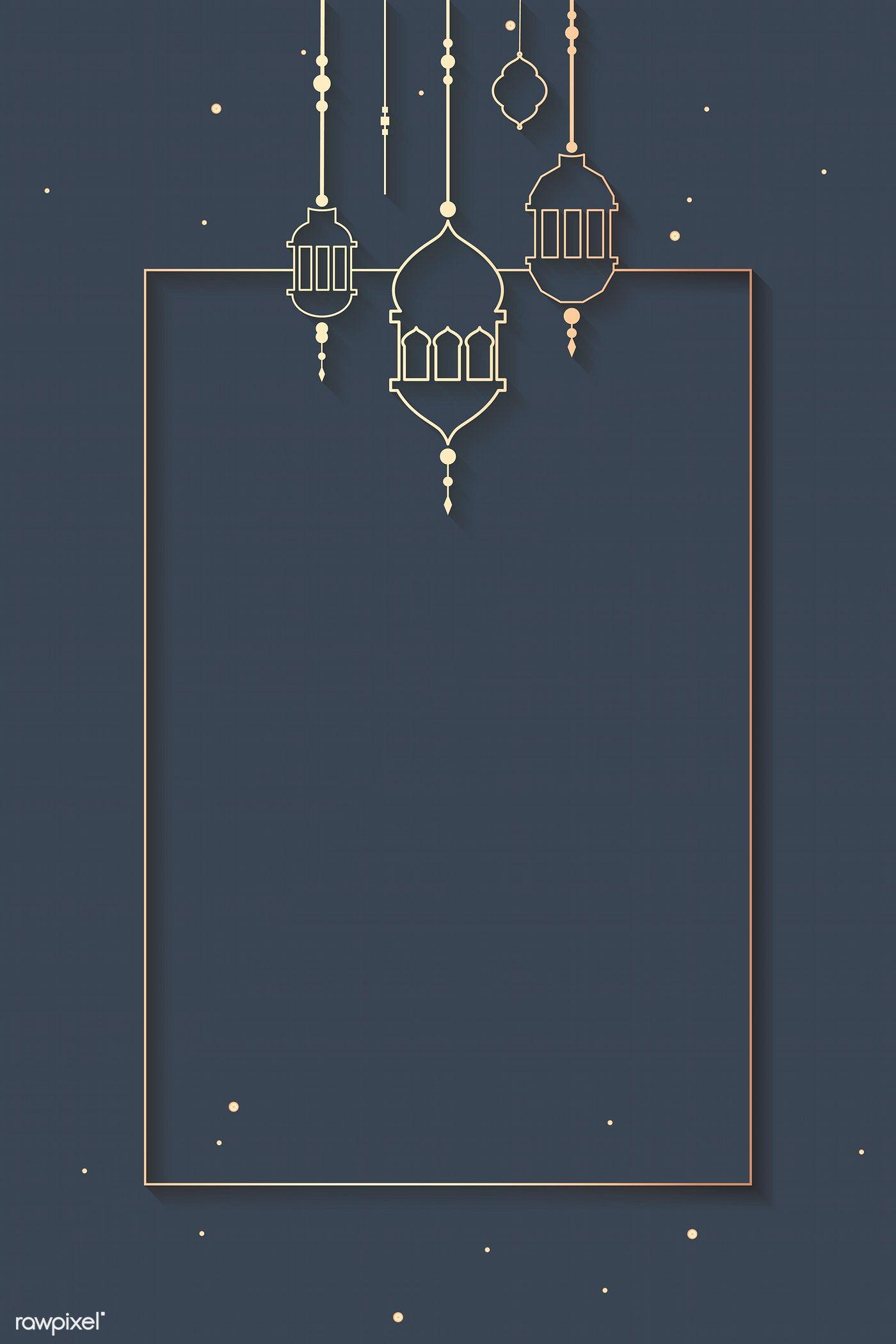 Background Pamflet Ramadhan : background, pamflet, ramadhan, Ramadan, Mubarak, Frame, Lantern, Vector, Image, Rawpixel.com, Katie, Desain, Pamflet,, Desain,, Banner