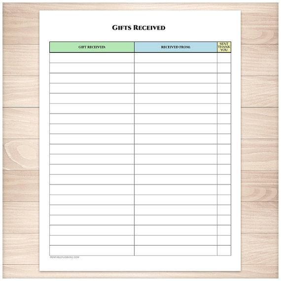 printable gifts received list