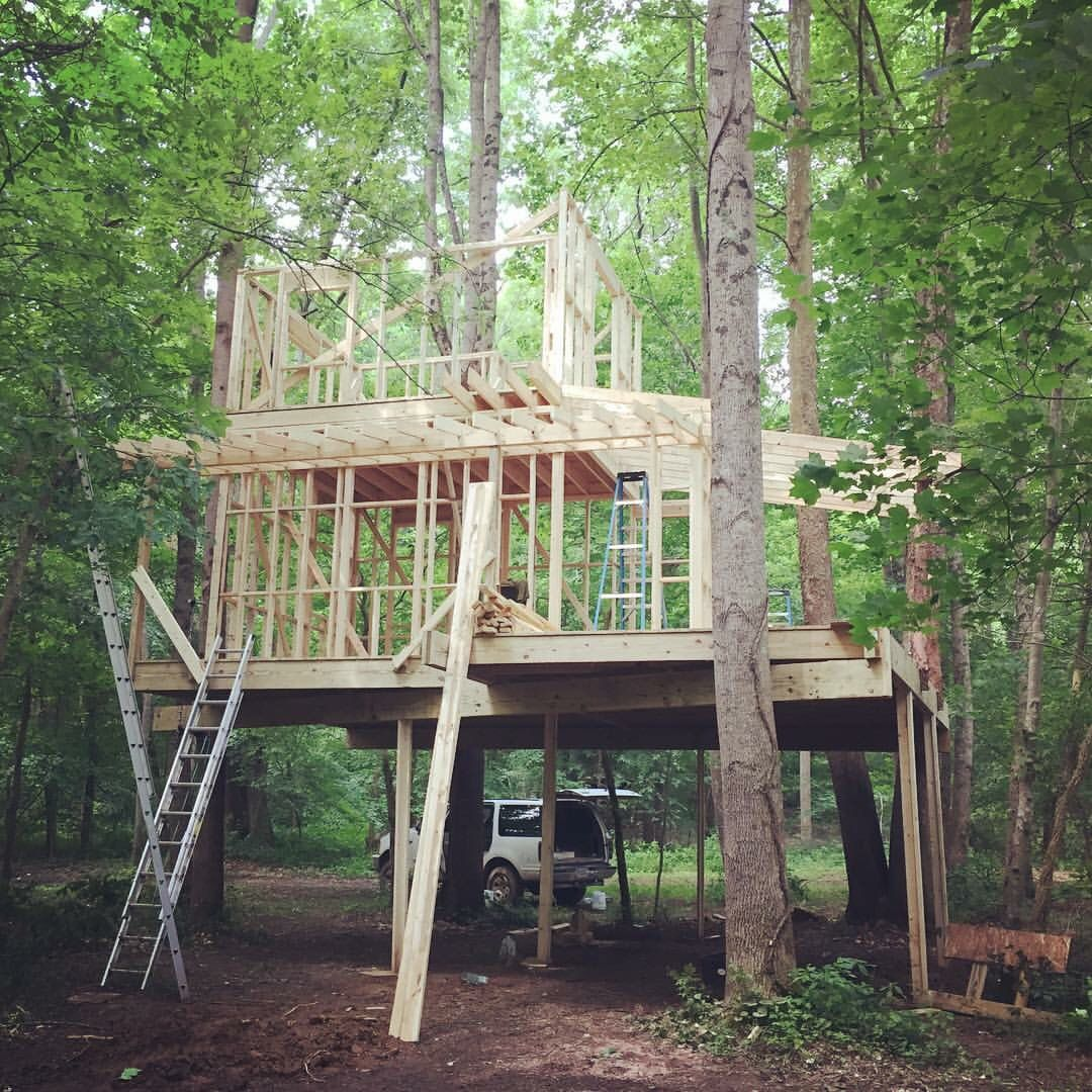 Wonderful Treehouse Rentals Indiana Part - 14: Sticks Goin Up In Beautiful Indiana #treehouse #canopycrew #offtheground  #offthegrid