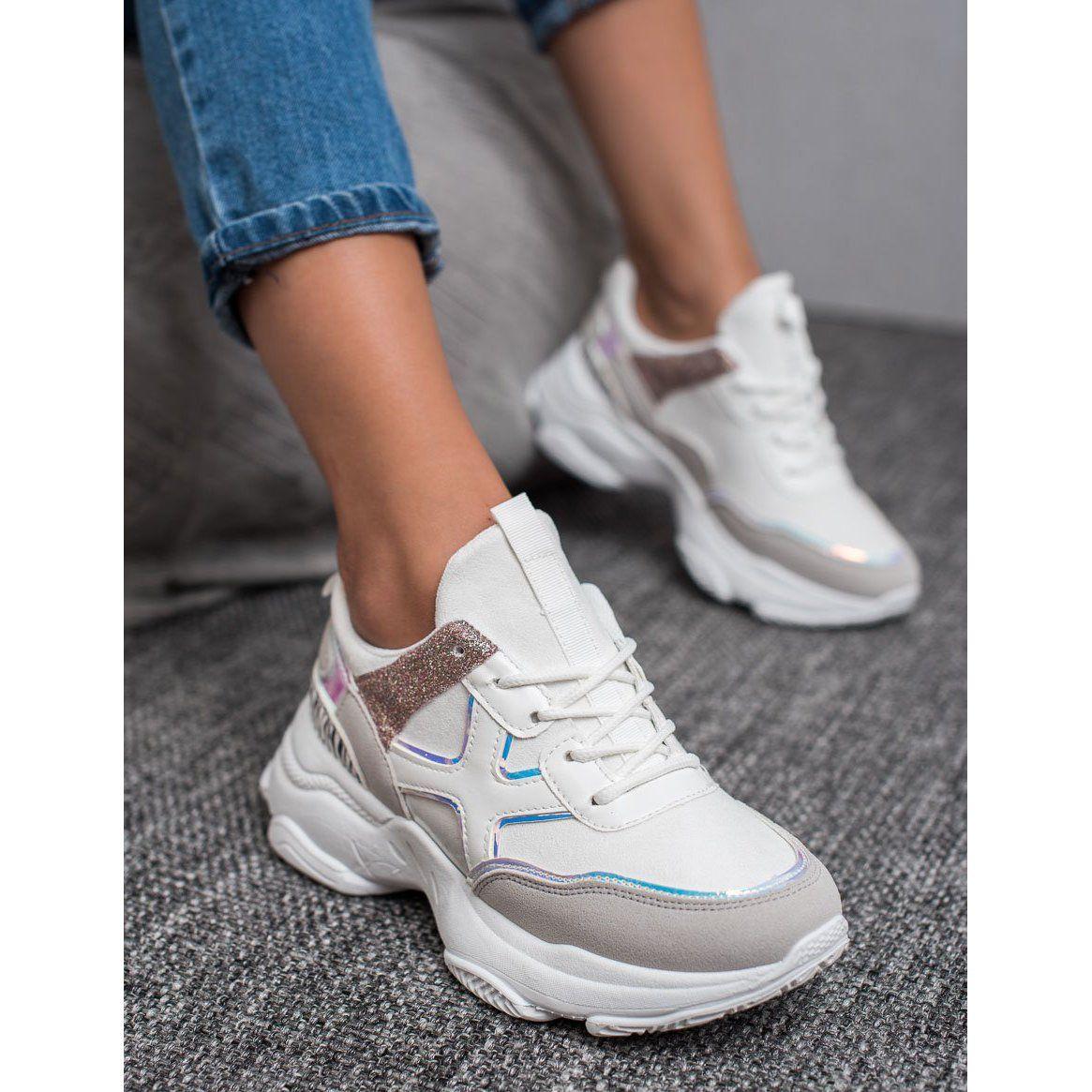 Shelovet Modne Buty Sportowe Biale Sport Shoes Plastic Heels Shoes