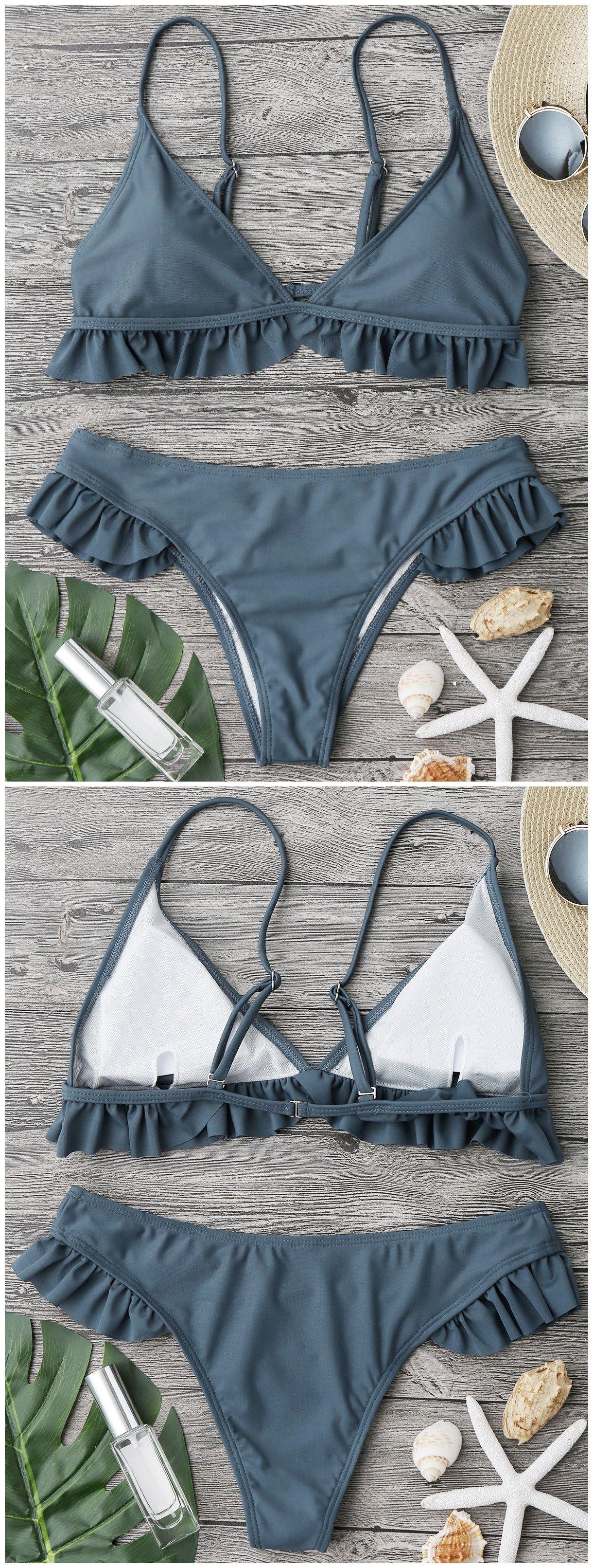 Ruffle Padded Plunge Bikini Set