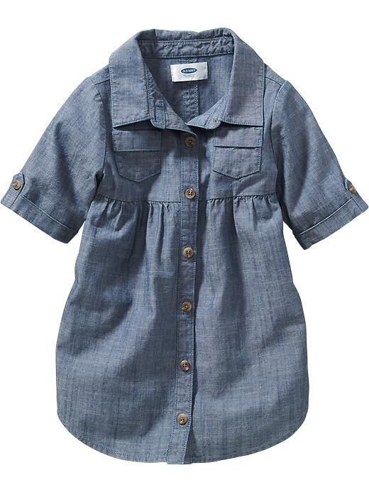 0fc819278 Chambray Shirt Dress for Baby and toddlers. Would be super cute with  leggings and boots.