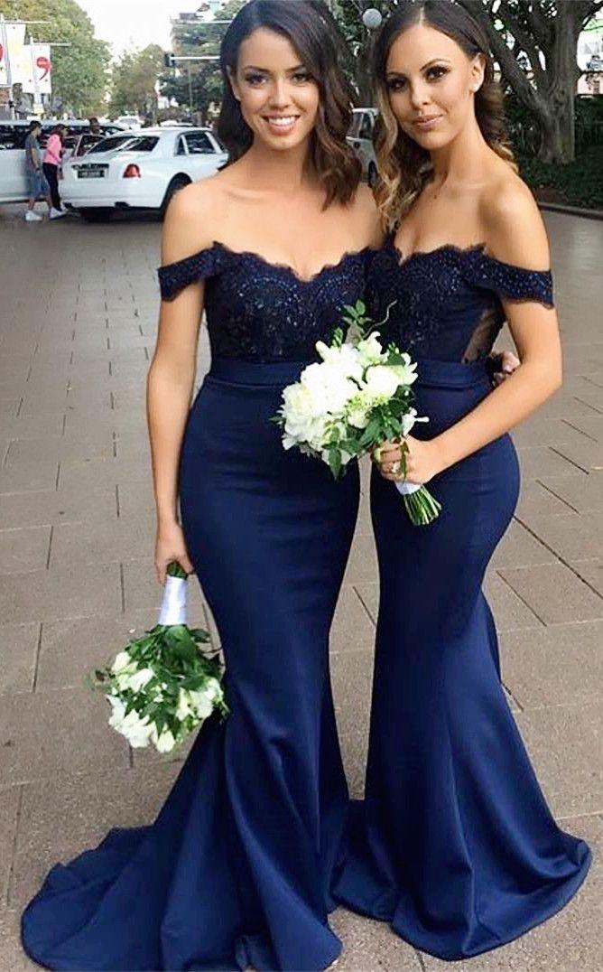 76b2161d88a Classic Off the Shoulder Mermaid Long Navy Blue Bridesmaid Dress ...