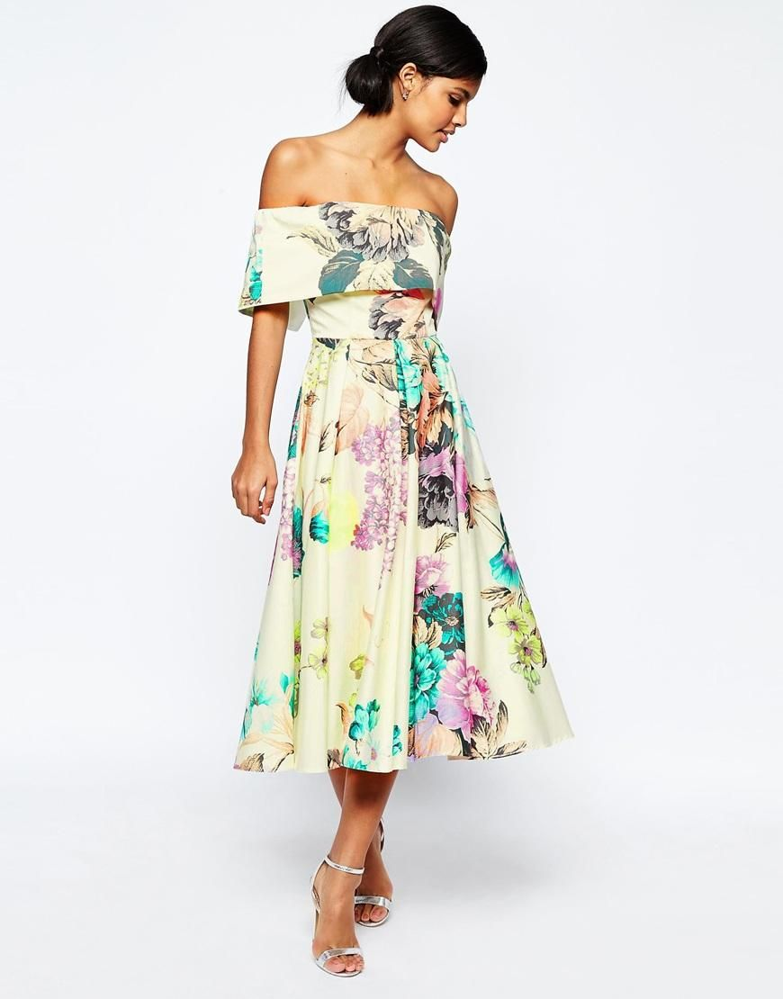 Dresses to wear to summer wedding  ASOS  ASOS Premium Off The Shoulder Bardot Midi Prom Dress In Large