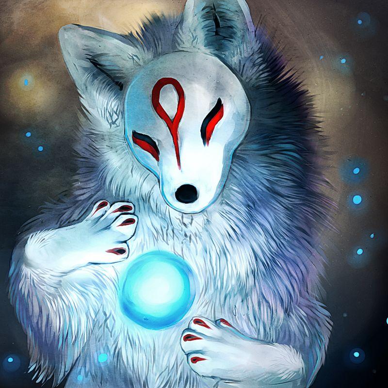 Kitsune by Tatchit Мифологические существа, Картины с