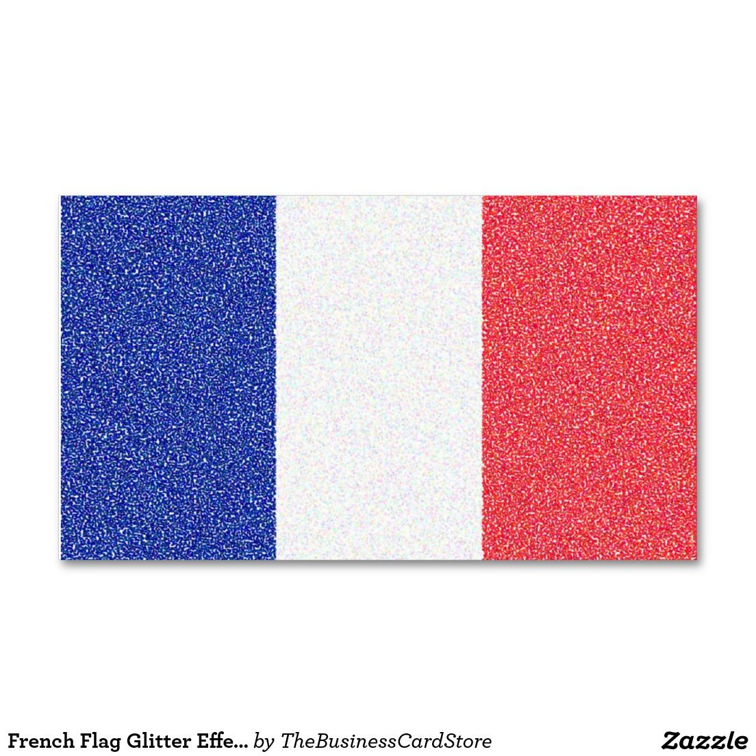 French Flag Glitter Effect France Double Sided Standard Business