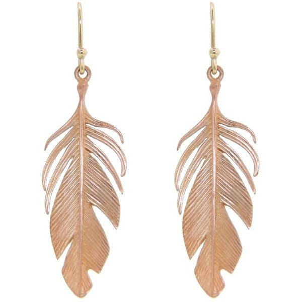 Annette Ferdinandsen Large Rose Gold Feather Earrings 14 Karat Found On Polyvore Gold Feather Earrings Pink Gold Jewelry Rose Gold Drop Earrings