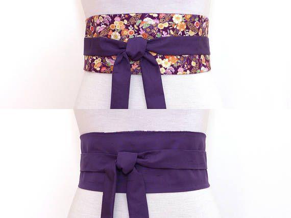 Polina Couture - Ceinture Obi violet, Uni   Tissu Japonais, Ceinture a  nouer violette réversible, large fleur floral, coton, parme lilas amethyste  fonce ... c5c67fc9a40