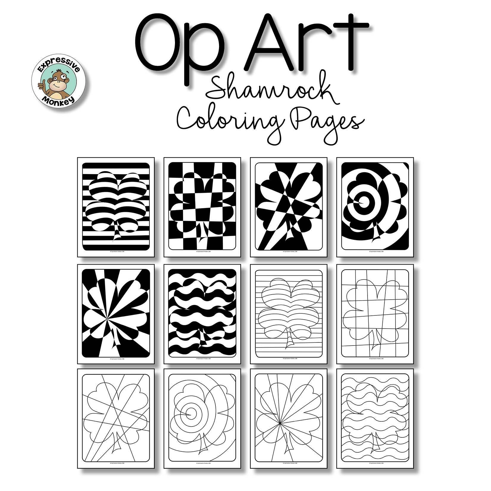 Op Art Shamrock Coloring Pages