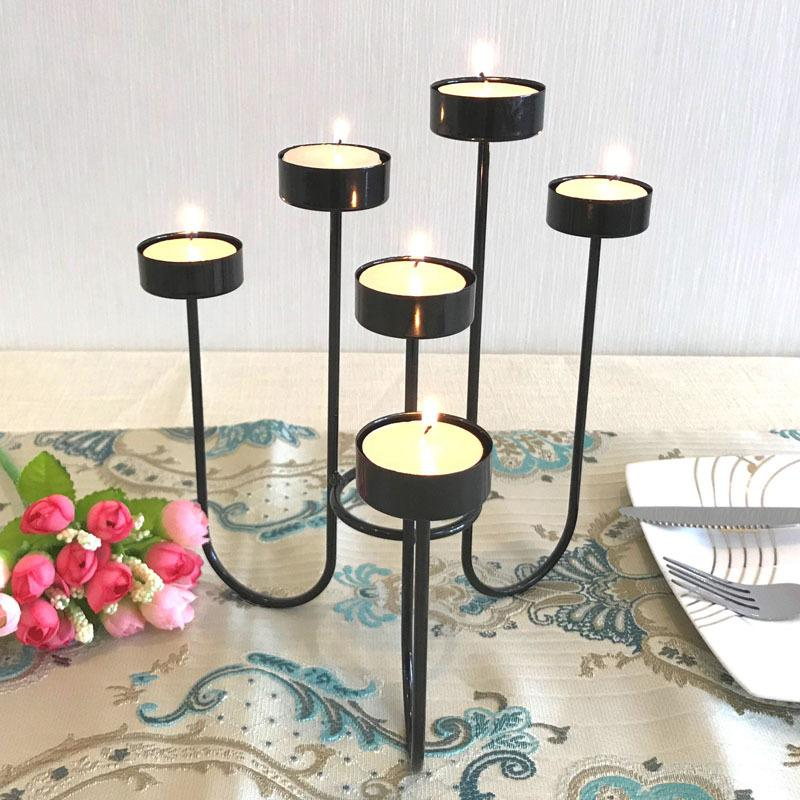 Metal Candle Holders Candlestick 6 8 9 Arms Candle Holder Stand Iron Black Pillar For Wedding Ho In 2020 Lantern Candle Centerpieces Iron Candle Holders Candle Holders