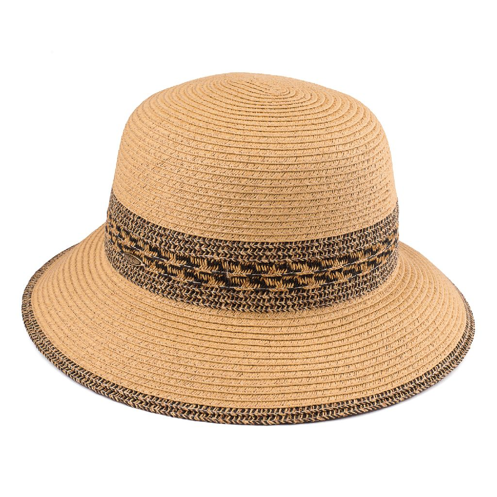 d85d1ccd144 Summer Paper Straw Brim Hat With Patterned Band (ST-511)