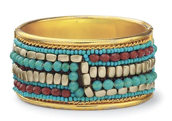 Beaded hinged bracelet