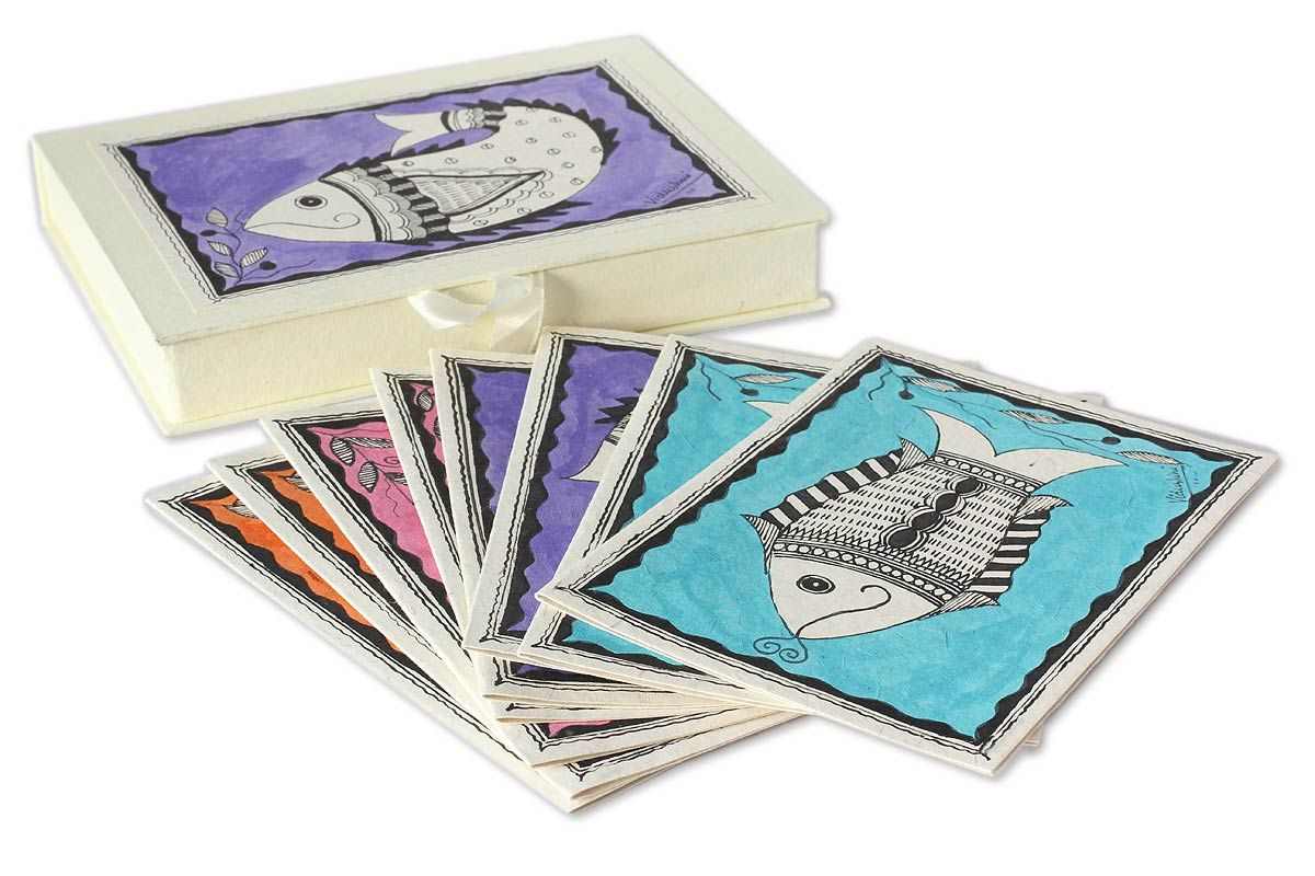 Madhubani greeting cards set of 8 fish of bihar fish madhubani greeting cards set of 8 fish of bihar madhubani artnational geographicgreeting m4hsunfo