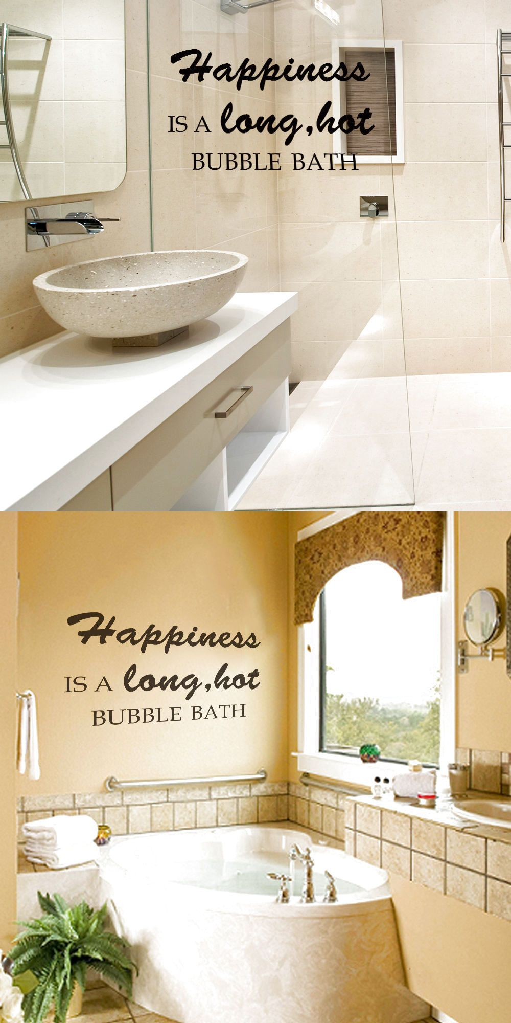 Bathroom wall decal happiness bubble bath quote shower room vinyl