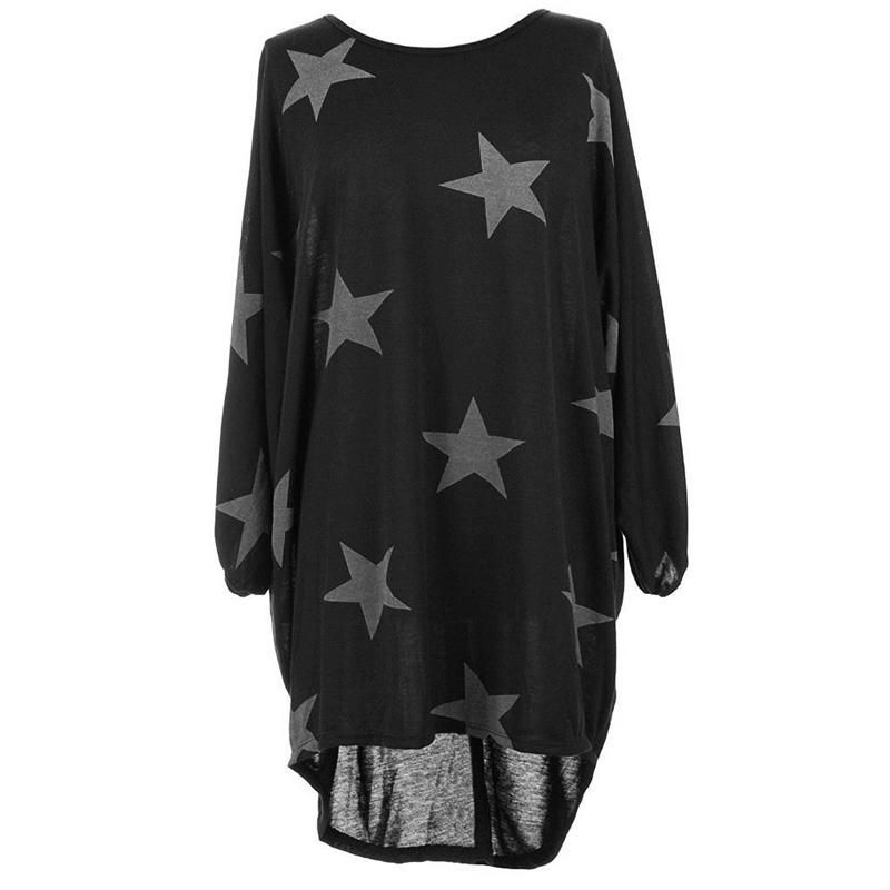 Quirky Batwing Long Sleeve Star Print Tunic Jumper Dress