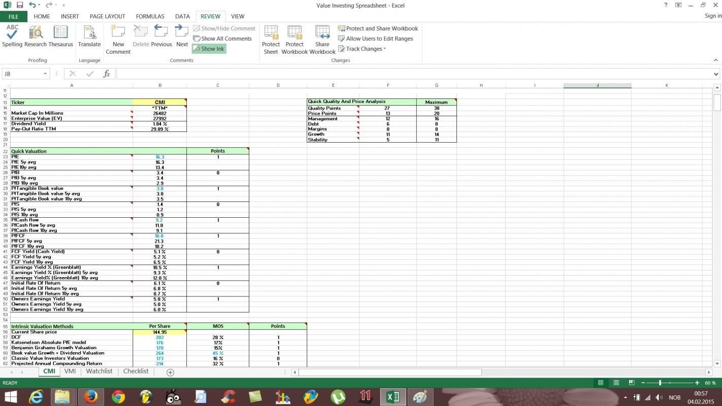 Rule 1 Investing Spreadsheet Fundamental Analysis Stock