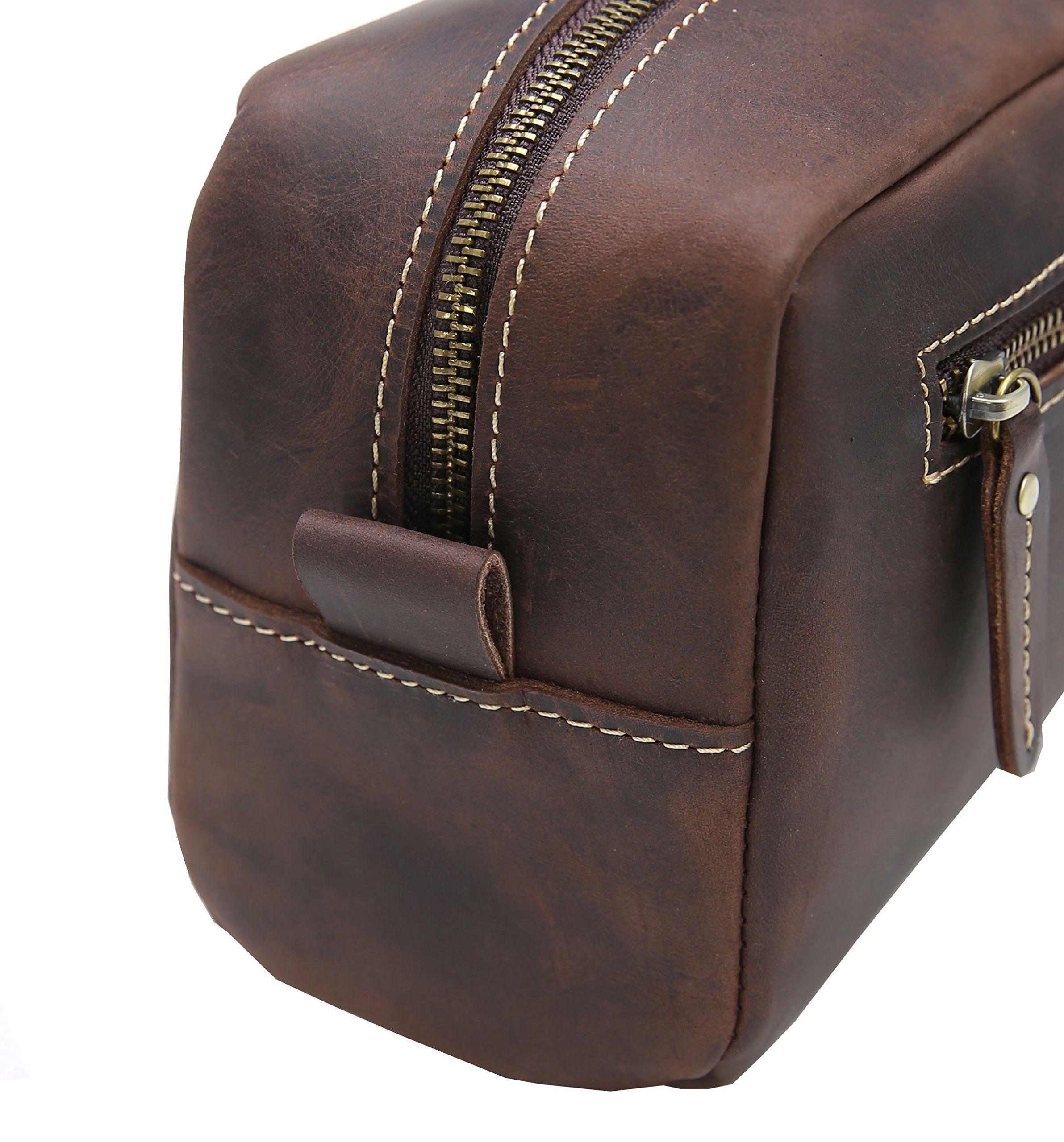 Travel Toiletry Bag Leather Wash Bag Iswee Shaving Grooming Dopp Kit Makeup Bag Cosmetic Bagdark Brown Cli Leather Wash Bag Toiletry Bag Travel Toiletry Bag