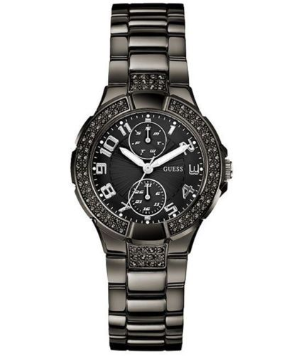 New Authentic Guess Women Black Crystal Watch U13586L3 New with Tag ... ba35234541f