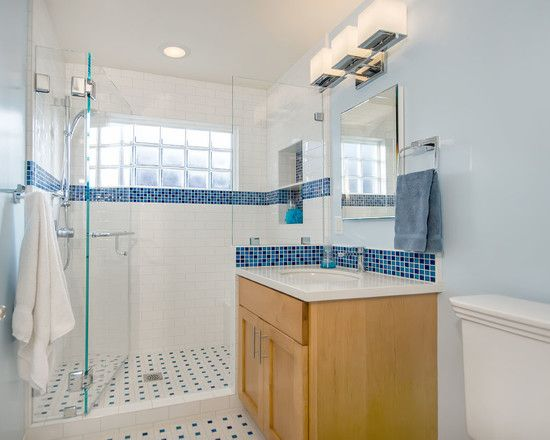 bathroom design traditional blue and white bathroom with fixed glass block window glass shower enclosure shower shelf niche and recycled glass mosaic tiles