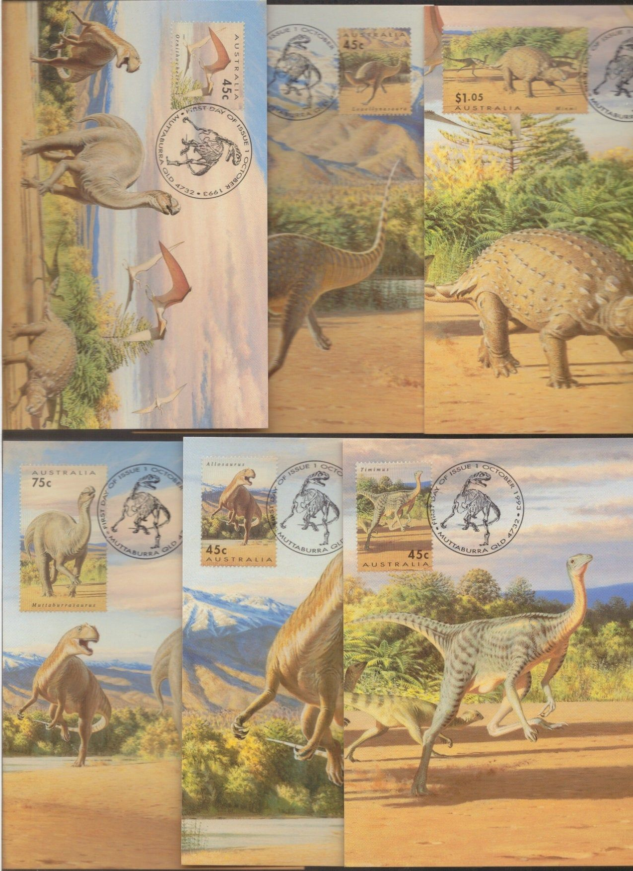 Dinosaurs dinosaur era australia stamp maxi card set of 5