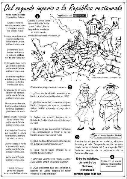 Republica Ensenanza De La Historia Actividades De Historia Historia De Mexico